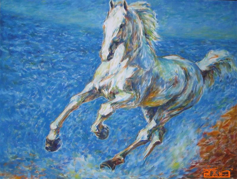 吉子榕 在海边奔跑的白马 淘宝 名人字画 中国书画交易中
